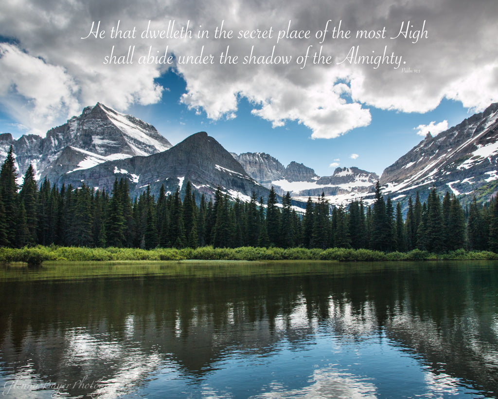 Lake Josephine in summer with snowy mountains in Glacier National Park with scripture verse