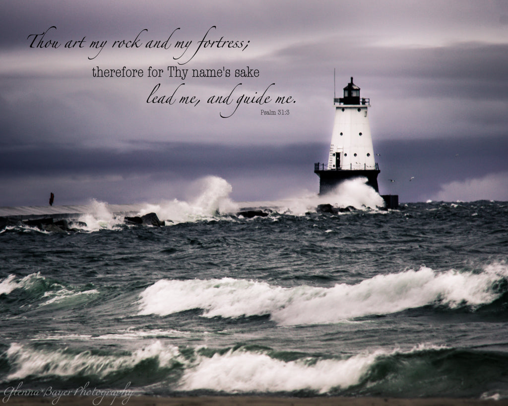 Ludington Lighthouse on Lake Michigan during stormy, windy day with scripture verse