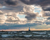 Ludington Lighthouse, Michigan, Wave, Lake, Sunset, Blue, Orange