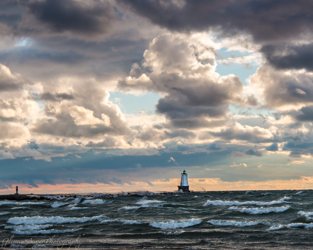 Ludington Lighthouse on Lake Michigan during sunset