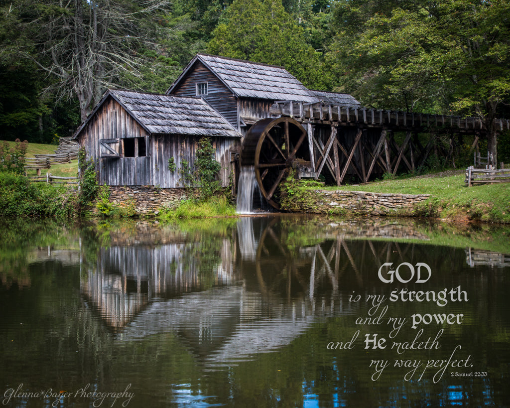 Mabry Mill in Summer near Meadows of Dan, Virginia with scripture verse