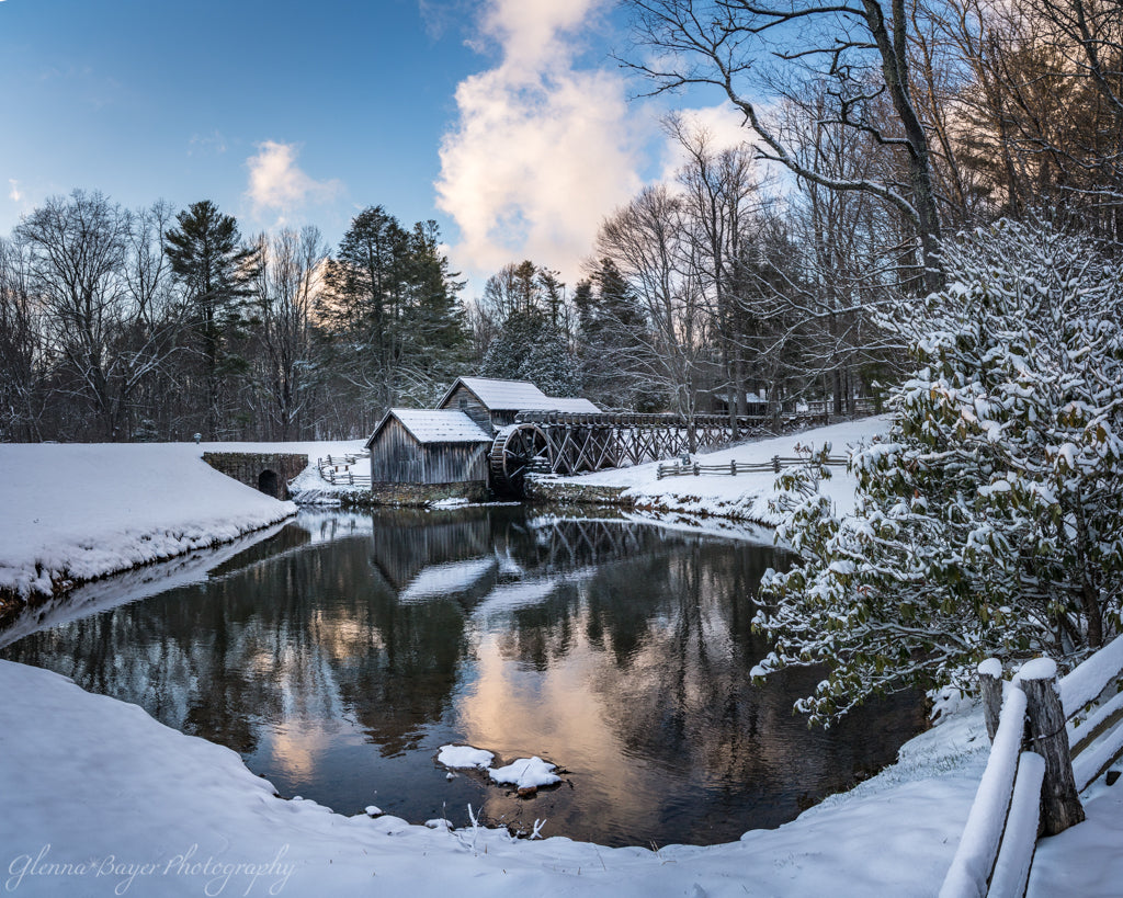 Mabry Mill in Winter with Snow