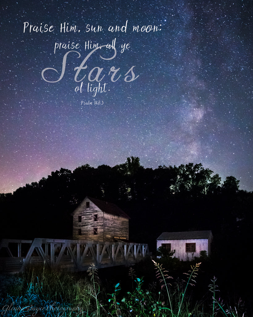 Milky Way above the Piedmont Mill in Virginia with scripture verse