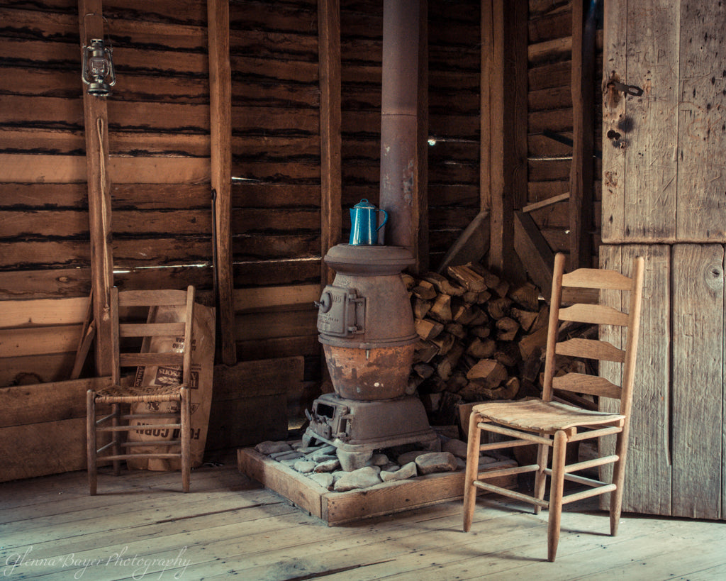 Potbelly stove and wooden chairs in the Mingus Mill in North Carolina