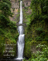 Multnomah Falls, Oregon, Green, Summer, River, Bible Verse
