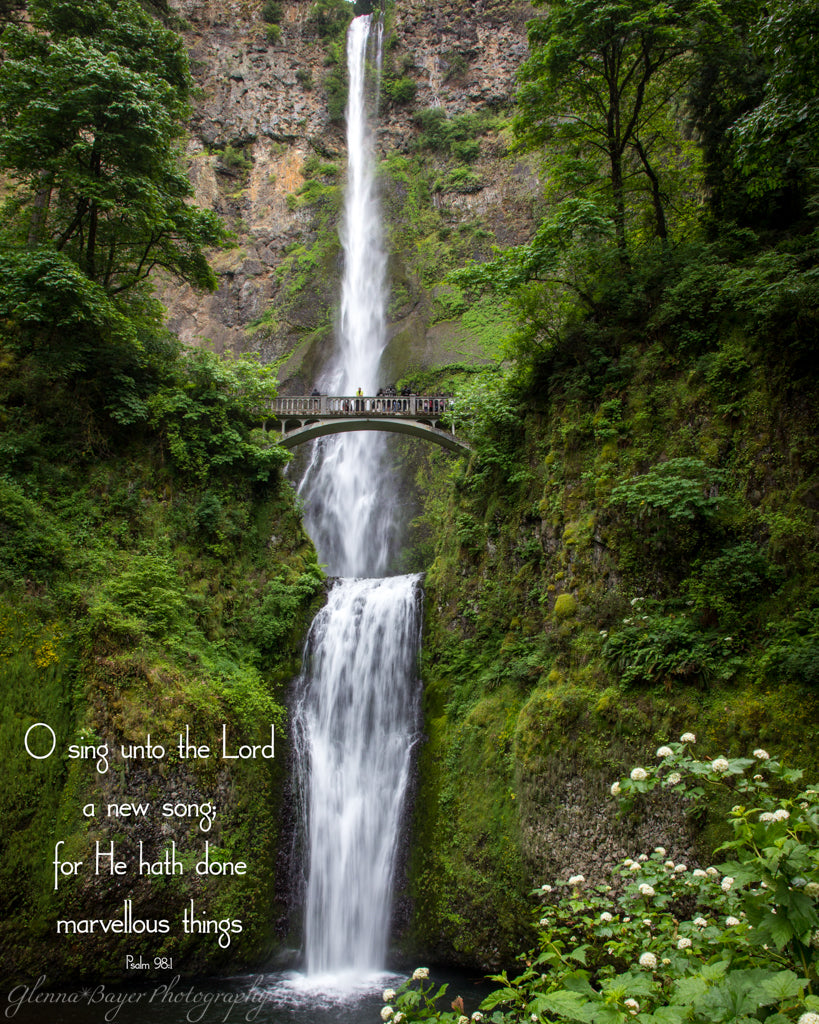 Summertime at Multnomah Falls in Oregon with bible verse