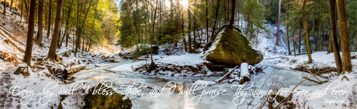 Panorama of stream through woods in winter at Old Man's Cave, Ohio with scripture verse