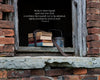 Old Books in Window Sill of Abandon Brick School House, Bible Verse, Inspirational
