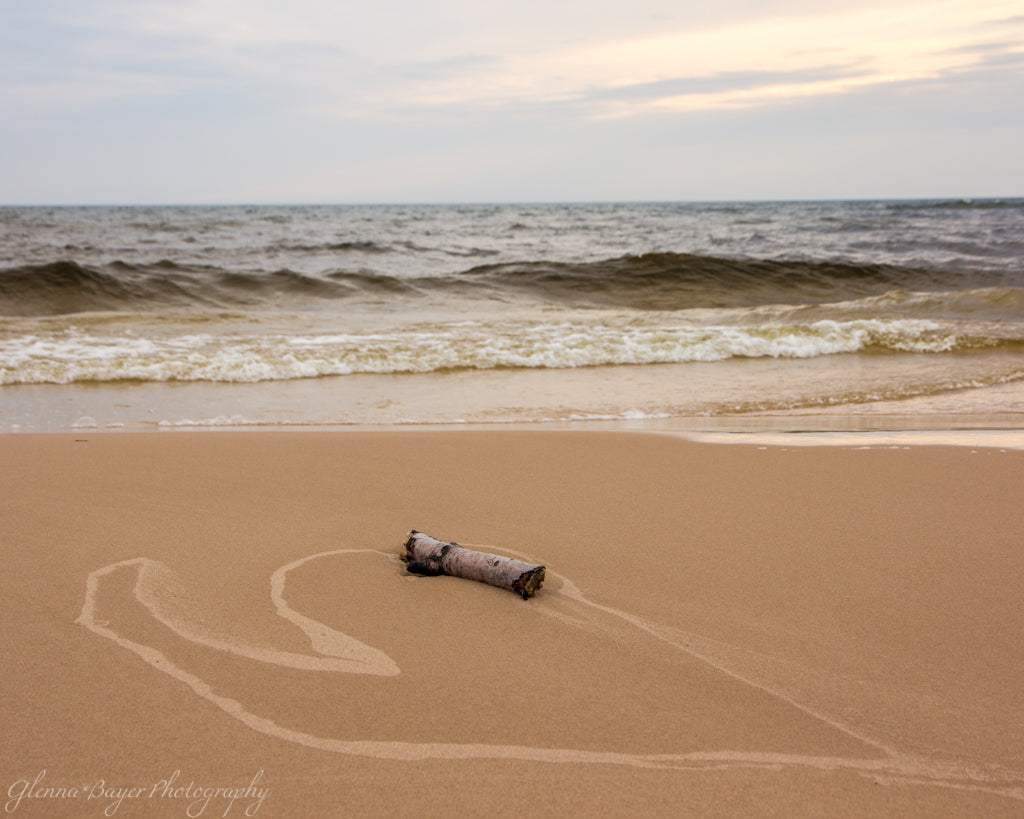 A heart in the sand with log on Lake Michigan Beach
