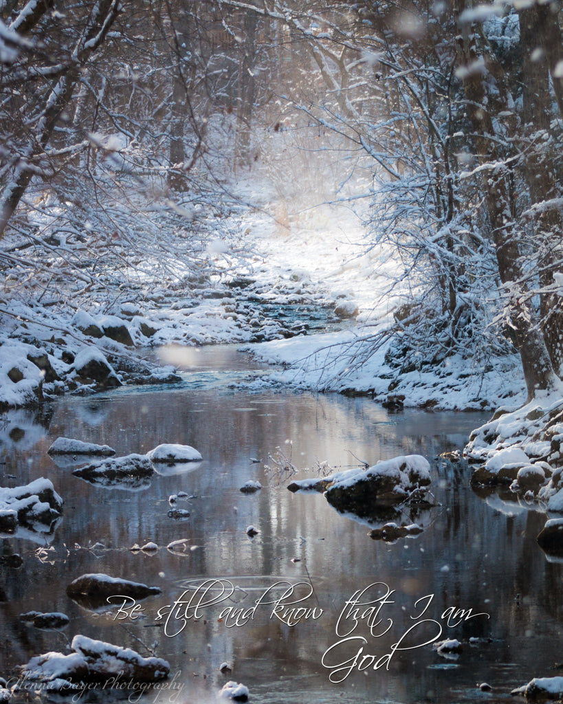 Painter Creek in winter wonderland with scripture verse
