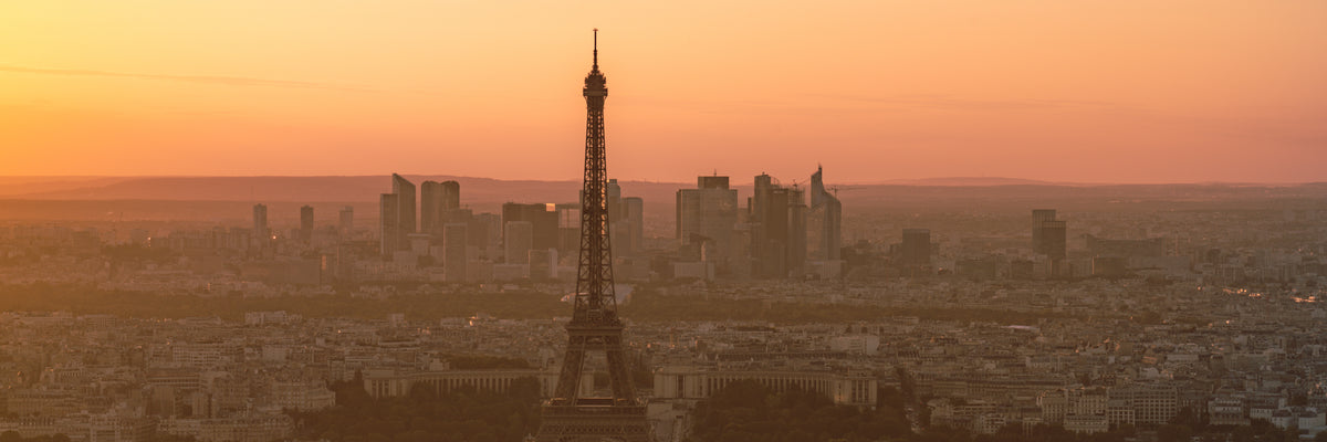 Paris Panorama during orange sunset