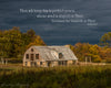 Pennywhistle Farm, Barn, Storm Clouds, Evening, Blue, Brown, Bible Verse