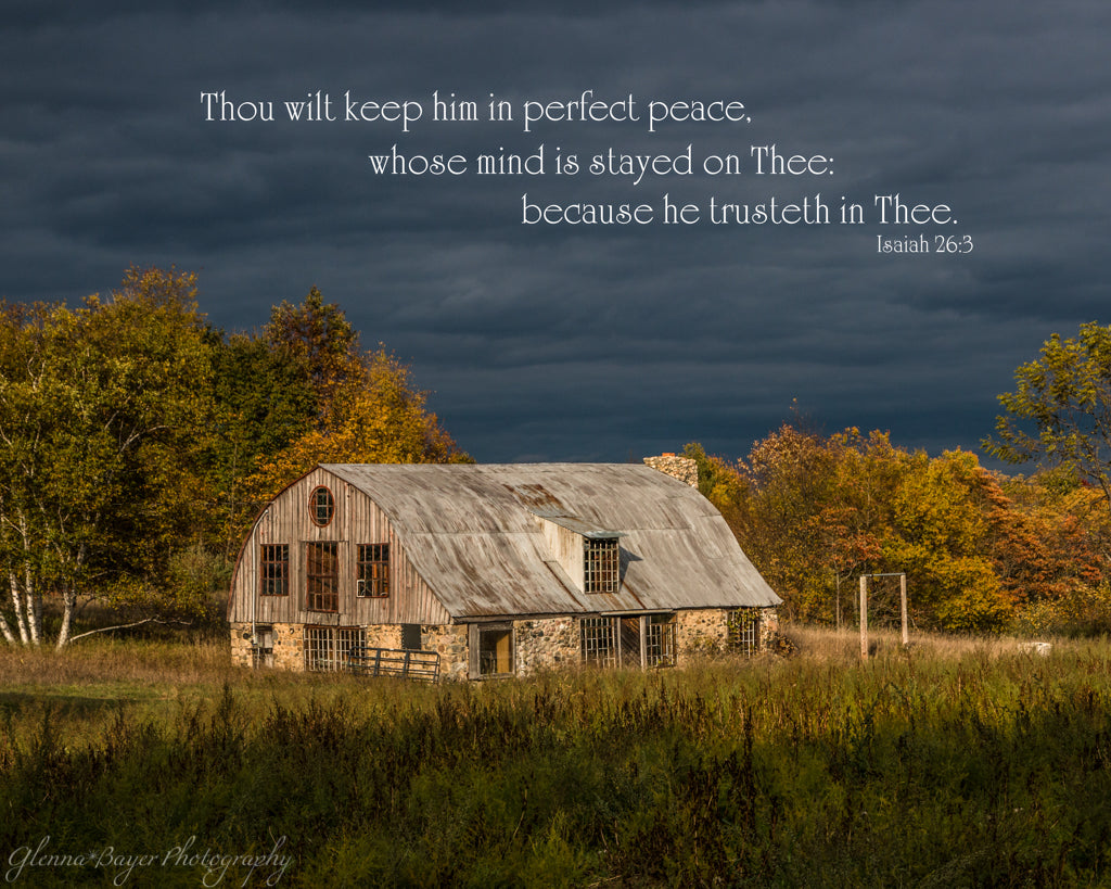 Pennywhistle farm in golden light and dark storm clouds with scripture verse