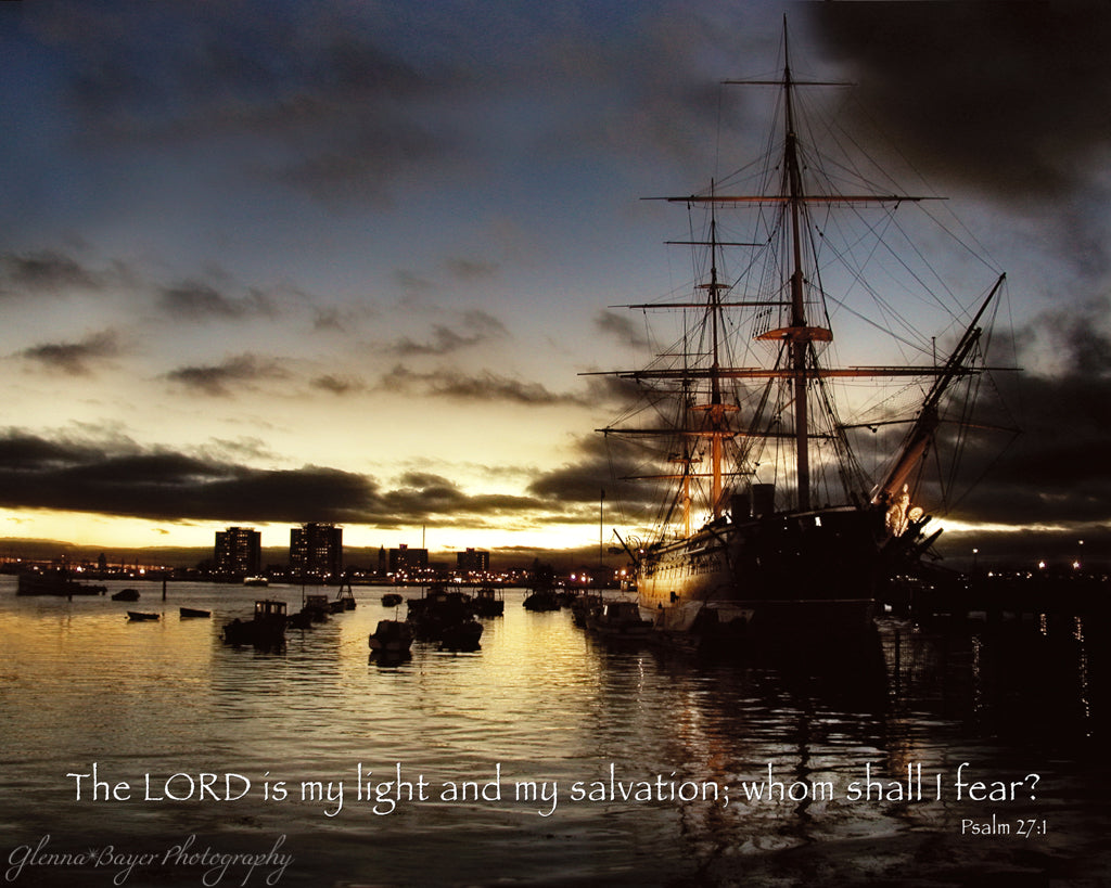 Portsmouth England ship at sunset with scripture verse