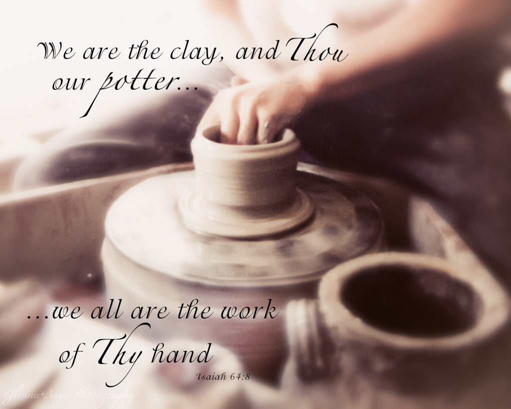 Potter forming clay on potter's wheel with scripture verse