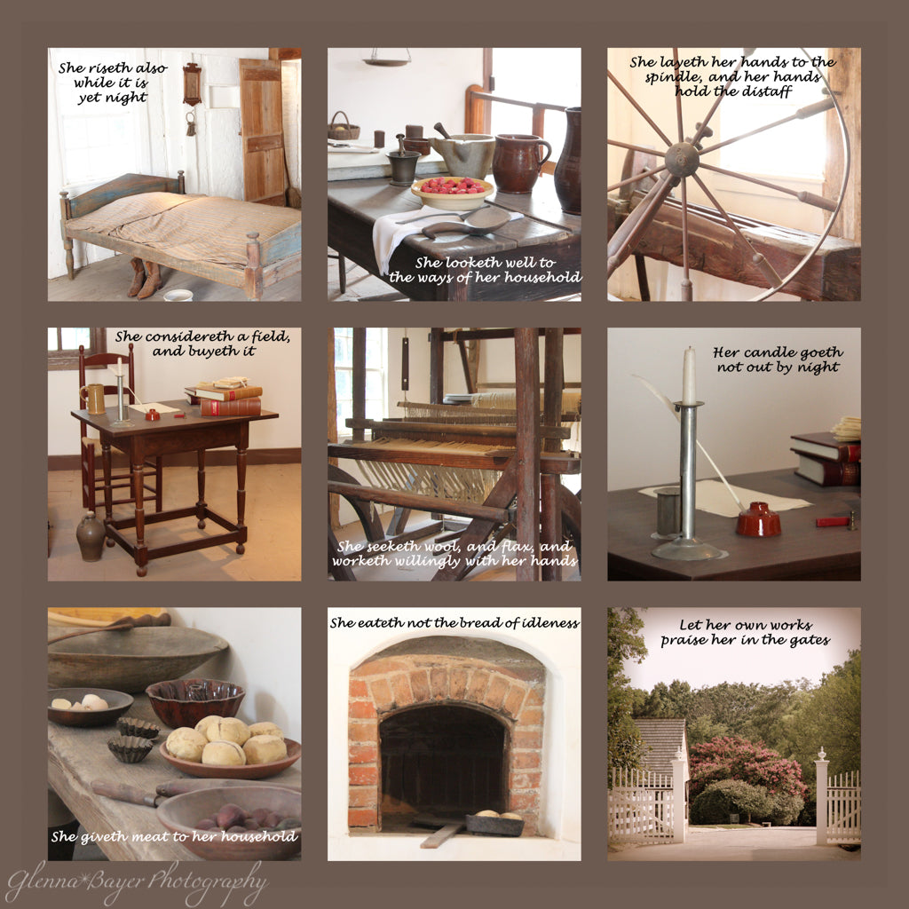Collage of nine pictures from the Mount Vernon Estate with scripture verses from Proverbs 31