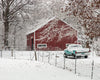 Red Barn and Teal Ford in Snow