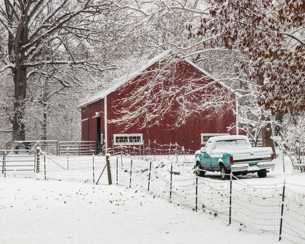Red Barn and Teal Ford in Snow (0064)