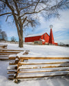 Red Barn in Winter, Snow, Wooden Fence