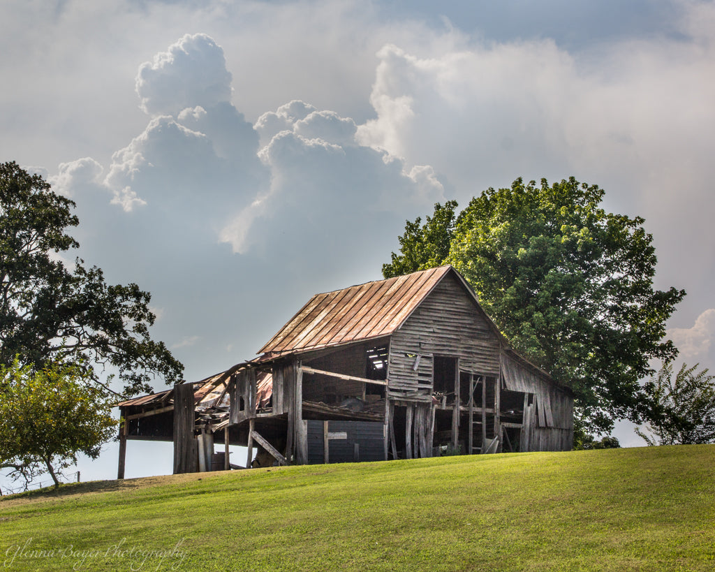 Old wood barn on hill in summer in Red Valley, Virginia