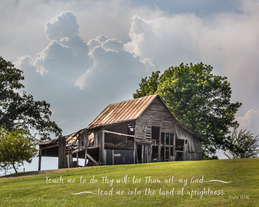 Old wood barn on hill in summer in Red Valley, Virginia with scripture verse