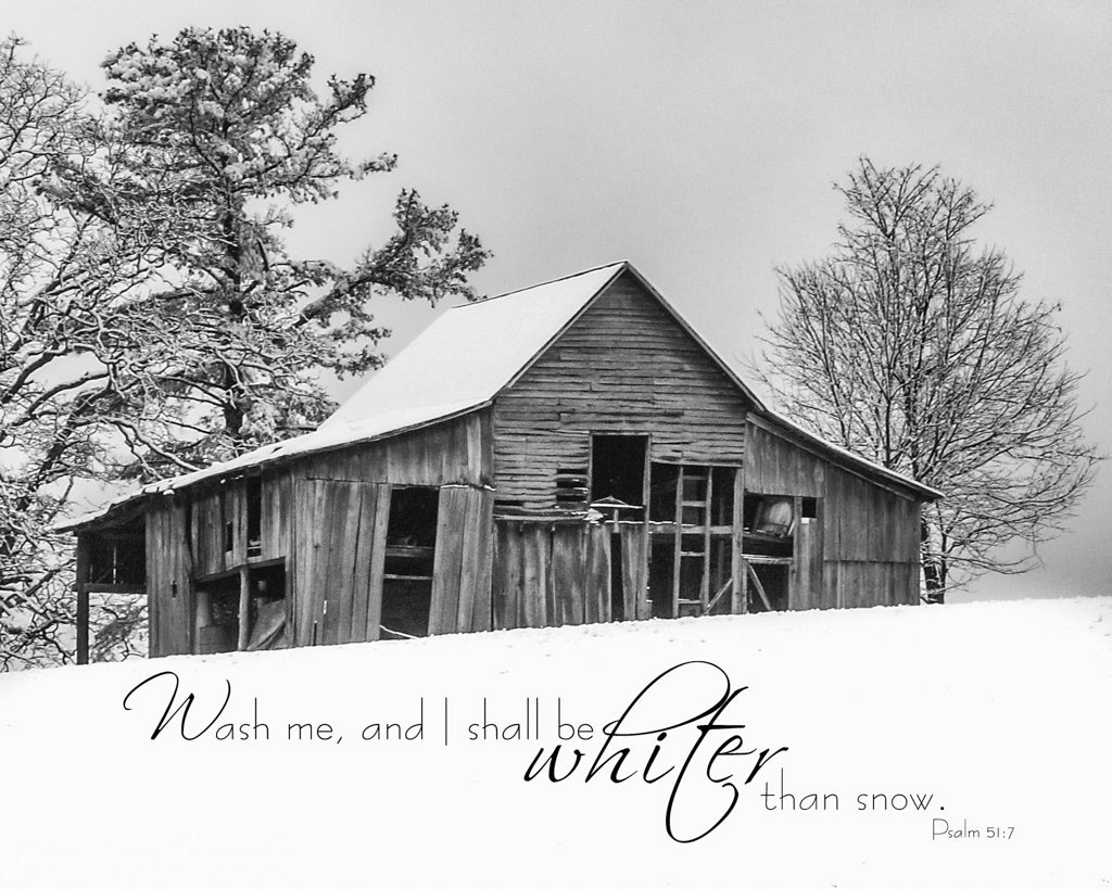 Old wood barn on hill in snow in Red Valley, Virginia with scripture verse