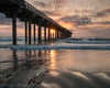 Wooden pier in ocean during pink sunset in San Diego Pier with scripture verse