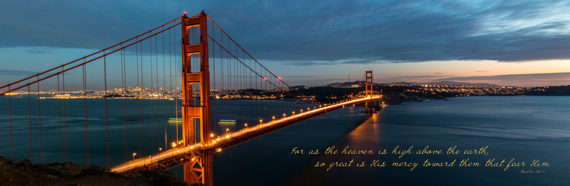 Golden Gate Bridge at sunset in San Francisco, California with scripture verse