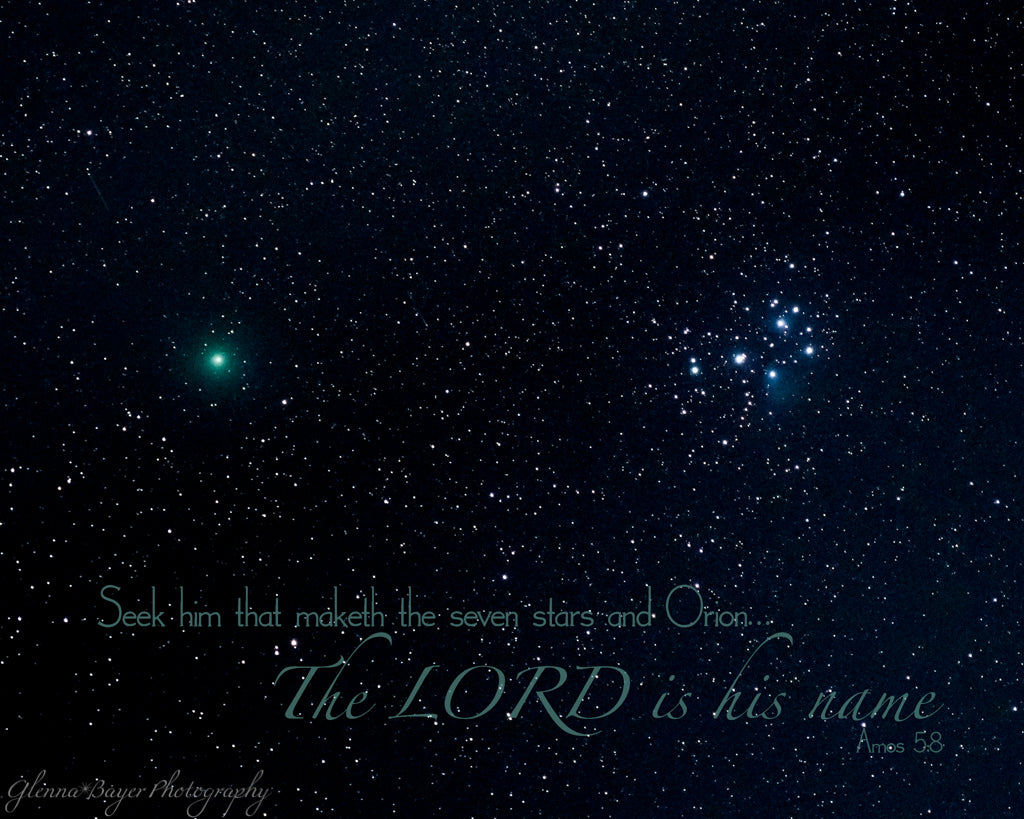 Comet 46P/Wirtanen with the three sisters and scripture verse