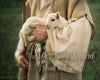 Shepherd carrying little lamb with scripture verse