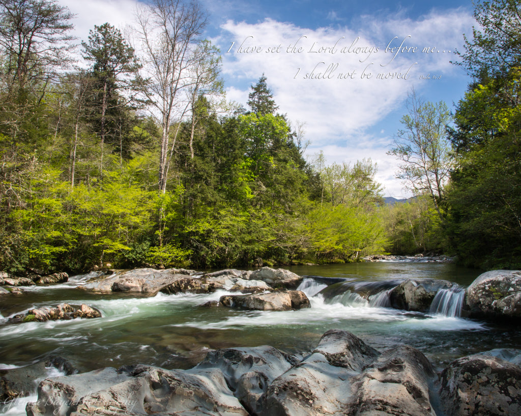 Smoky mountain stream and rocky river bed in summer with scripture verse
