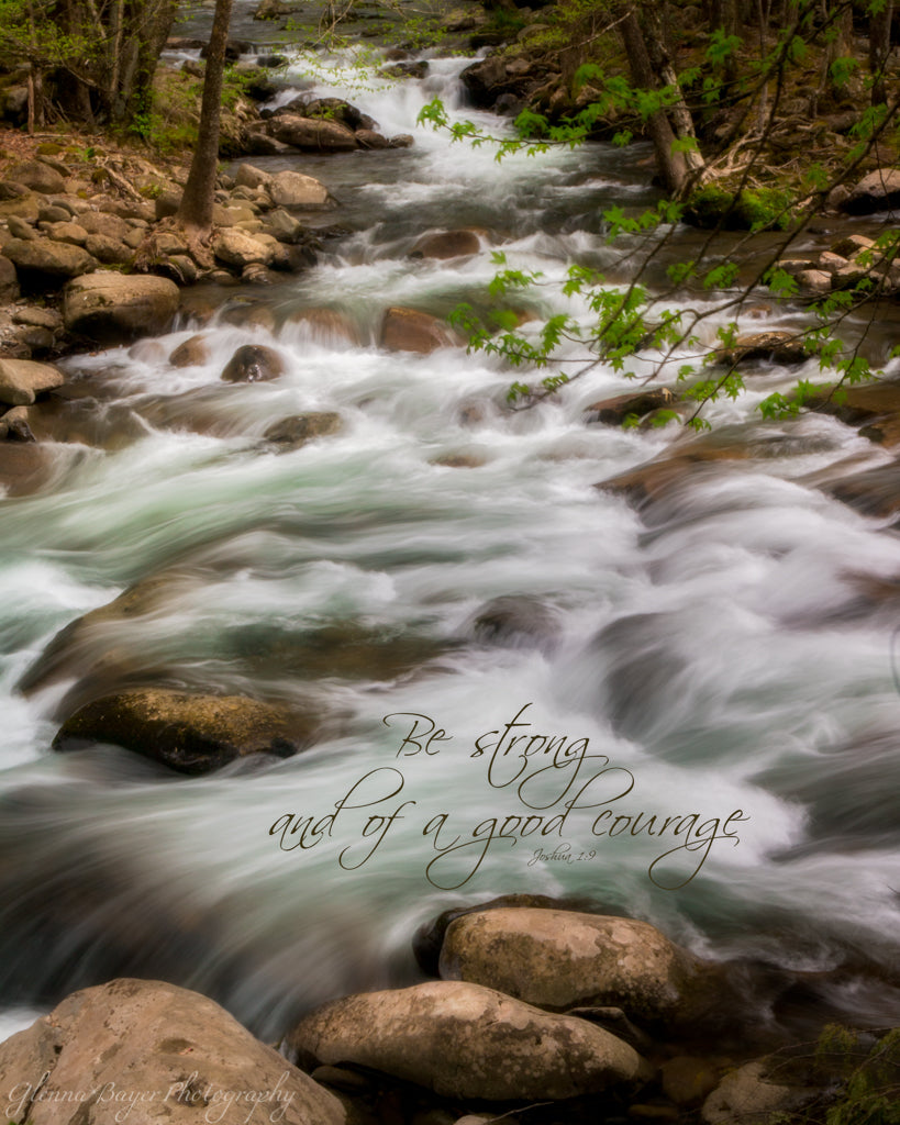 Smoky Mountain Stream flowing over rocks with scripture verse