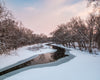 Stillwater River, Ohio, Winter, Morning, Snow, Pink, Reflection