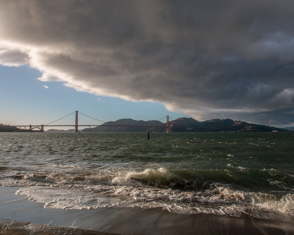 Storm over Golden Gate and bay in California