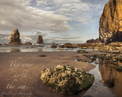 Sunrise on beach at Haystack Rock, Oregon with scripture verse