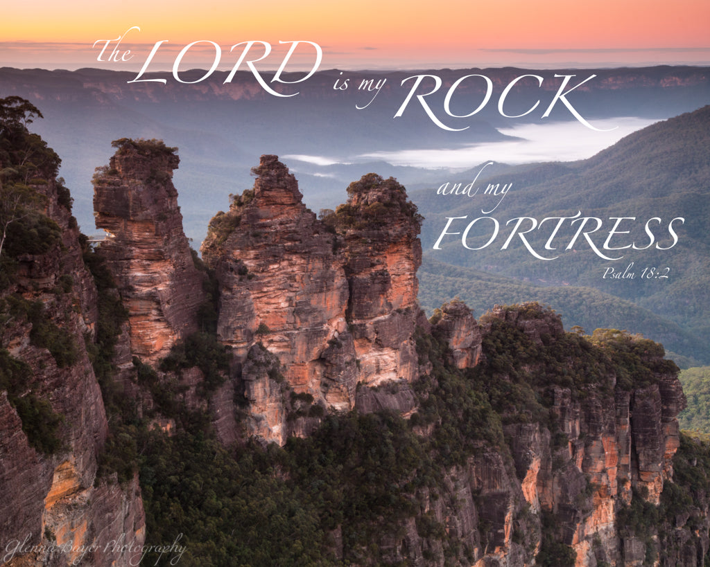 Orange sunrise over the Three Sisters, in the Blue Mountains of Australia with scripture verse