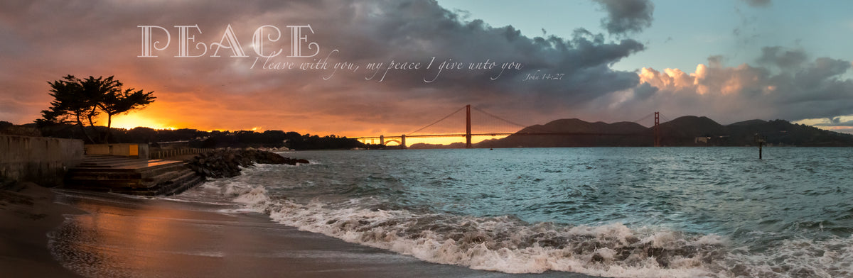 Panorama of orange and blue sunset at the Golden Gate Bridge in California with scripture verse