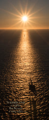 Orange sunset and sailboat from Golden Gate Bridge with scripture verse