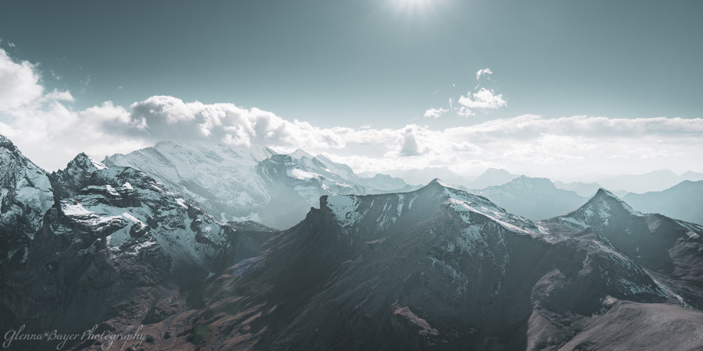 Panorama of Swiss alps at Schilthorn
