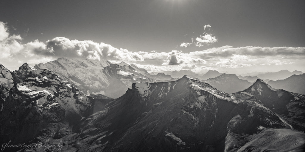 Swiss Alps at Schilthorn Panorama, black and white