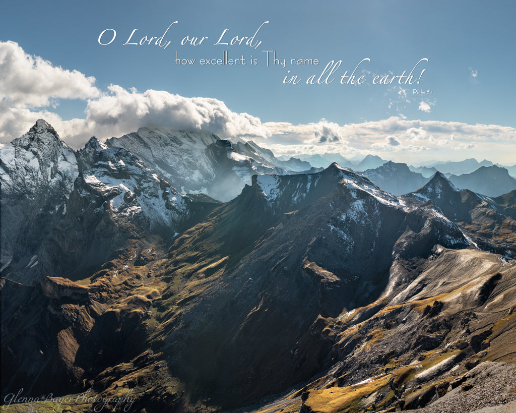 Swiss Alps at Schilthron with scripture verse