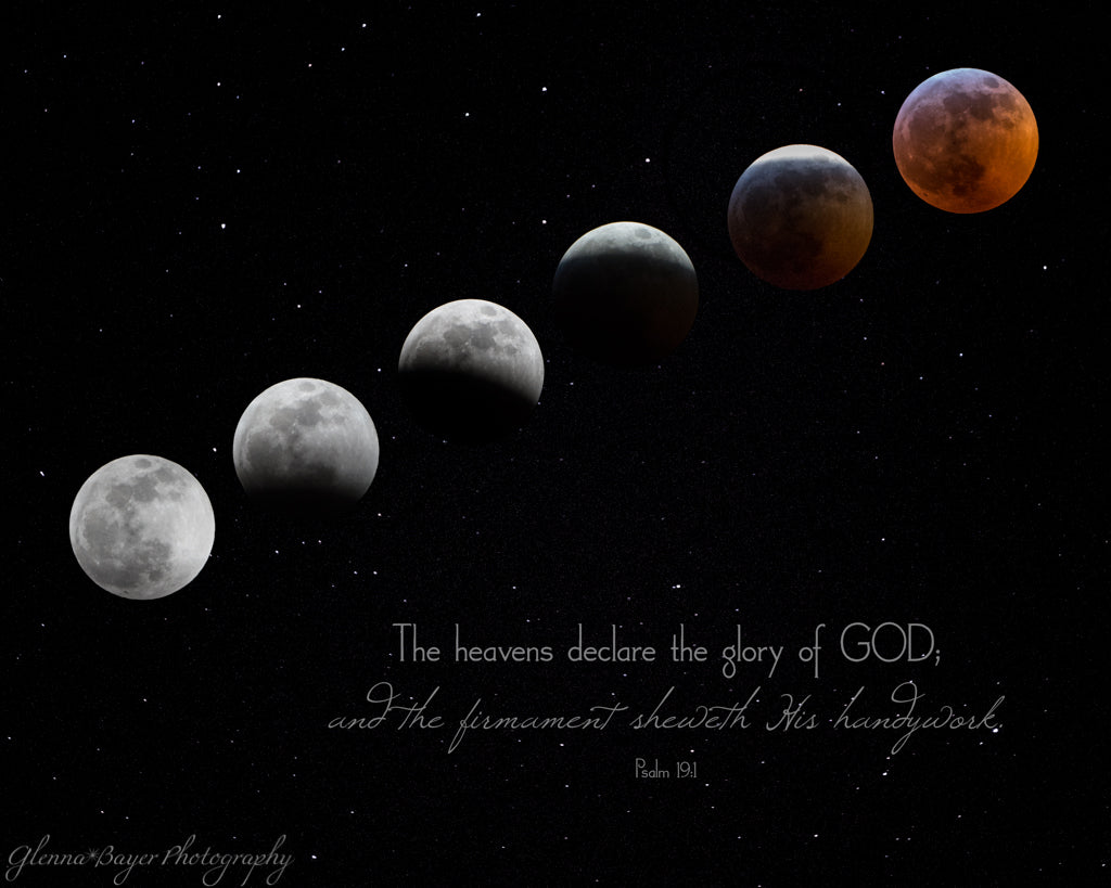 Composite of full lunar eclipse and blood moon with scripture verse