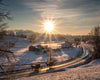 Two Buggies and Sunburst, Winter, Morning, Sunrise, Snow