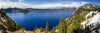 Crater Lake Panorama, Blue, Green, Snow, Summer