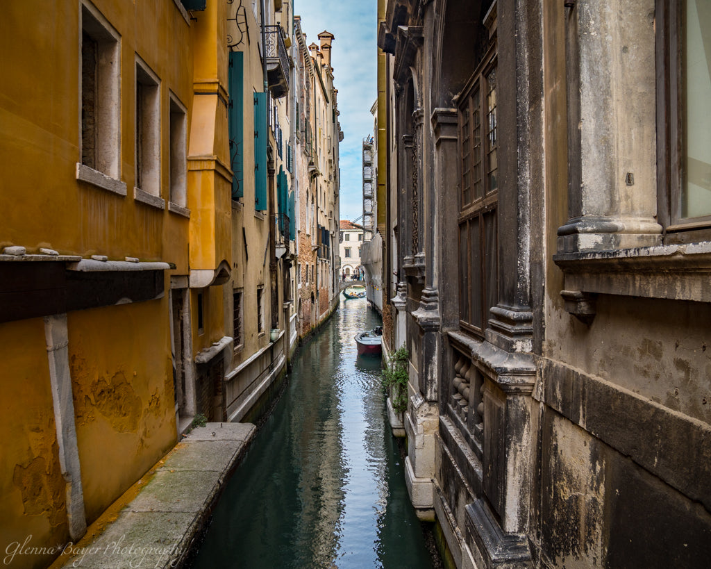 Venice Canal and Street Scene with Yellow Building