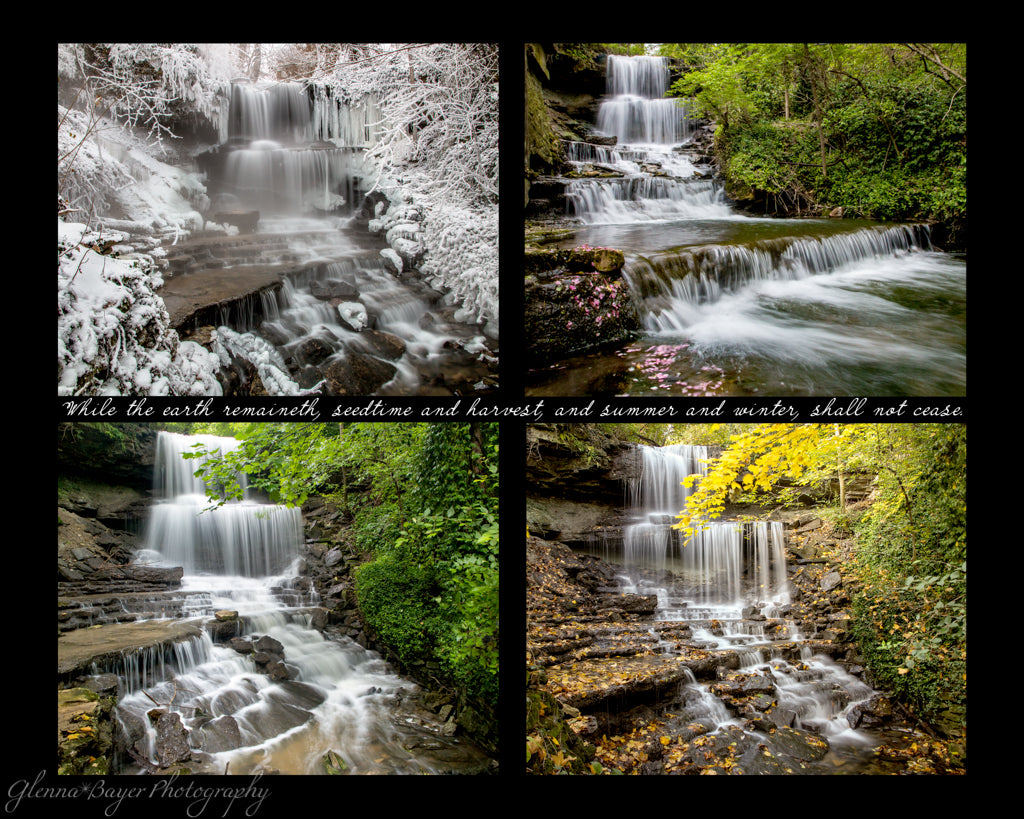 Four picture collage of West Milton's Cascades in four seasons with scripture verse