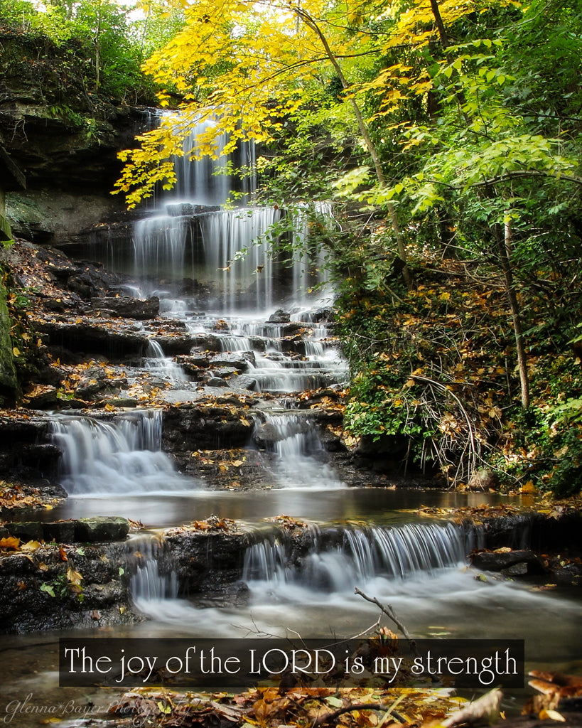 West Milton Cascades in fall with scripture verse