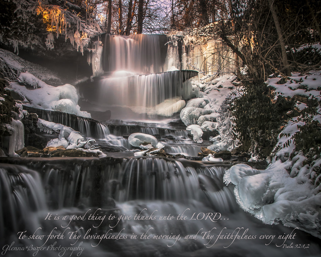 West Milton cascades in winter with scripture verse
