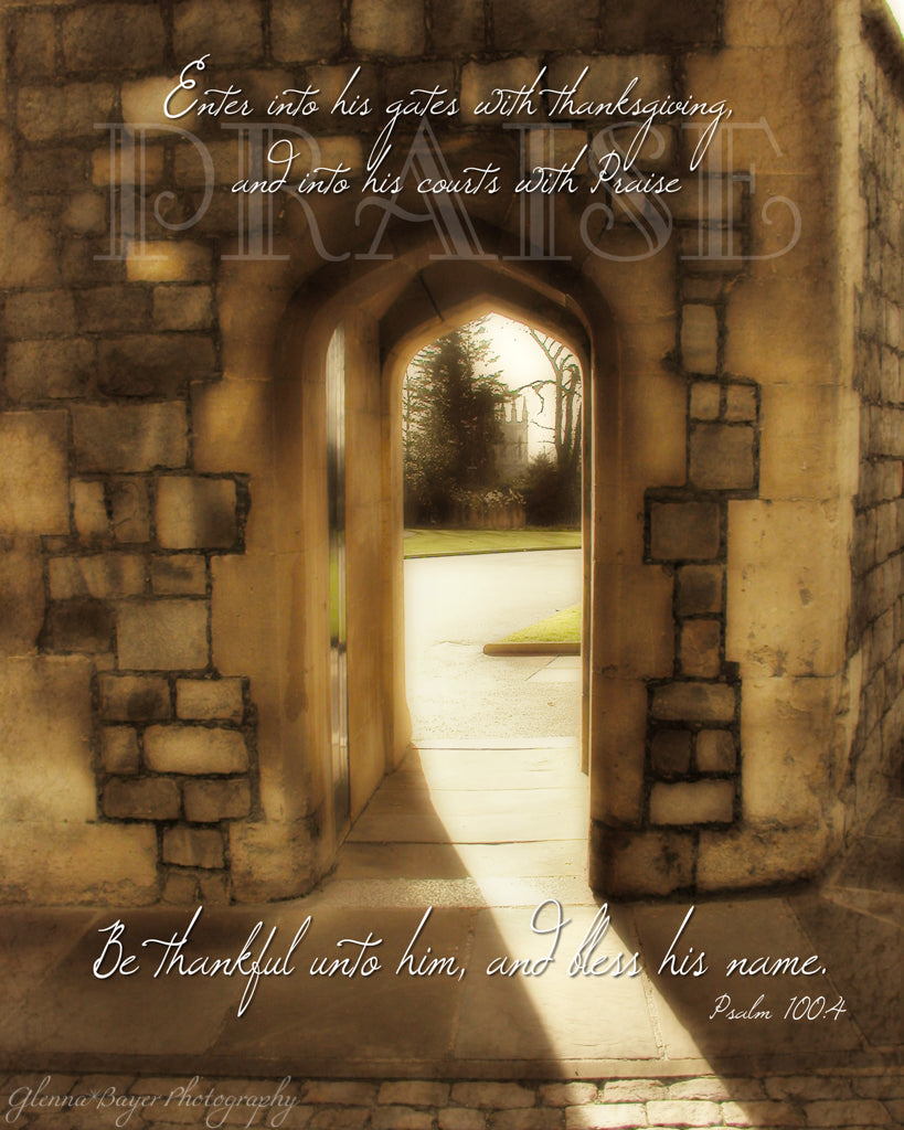 Light shining through Windsor castle gate in England with scripture verse