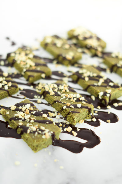 Delicious Protein Matcha Bars (no bake)